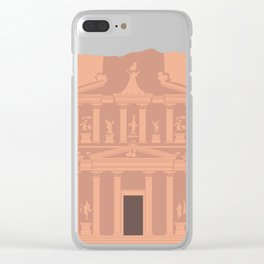 The Treasury at Petra Block Type Travel Poster Clear iPhone Case