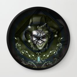 Venician mask with floral elements Wall Clock