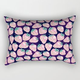 Pink Strawberry pattern on purple background Rectangular Pillow
