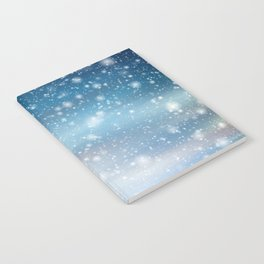 Snow Bokeh Blue Pattern Winter Snowing Abstract Notebook