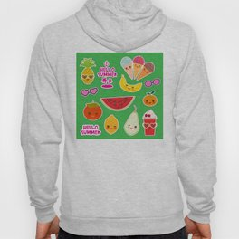 Hello Summer Persimmon, pear, pineapple, cherry smoothie, ice cream cone, sunglasses. Kawaii Hoody