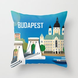 Budapest, Hungary - Skyline Illustration by Loose Petals Throw Pillow