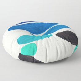 Mid Century Modern Retro Minimalist Colorful Shapes Phthalo Blue Marine Green Gradient Pebbles Floor Pillow