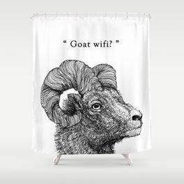 "TYPOANIMAL -  ""Goat wifi?"" Shower Curtain"