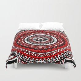 Red and Black Mandala Duvet Cover