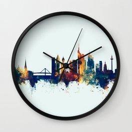 Watercolor art print of the skyline of Munich, Germany (München) Wall Clock
