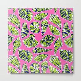 Shells on Pink Metal Print