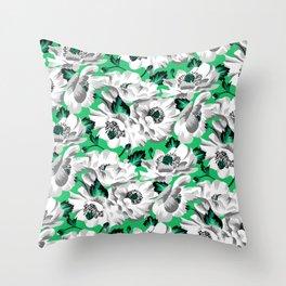 Mount Cook Lily - Green/White Throw Pillow