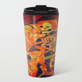 A Skeleton and Corpse Embracing Death Travel Mug