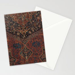 Boho Chic Dark VII // 17th Century Colorful Medallion Red Blue Green Brown Ornate Accent Rug Pattern Stationery Cards