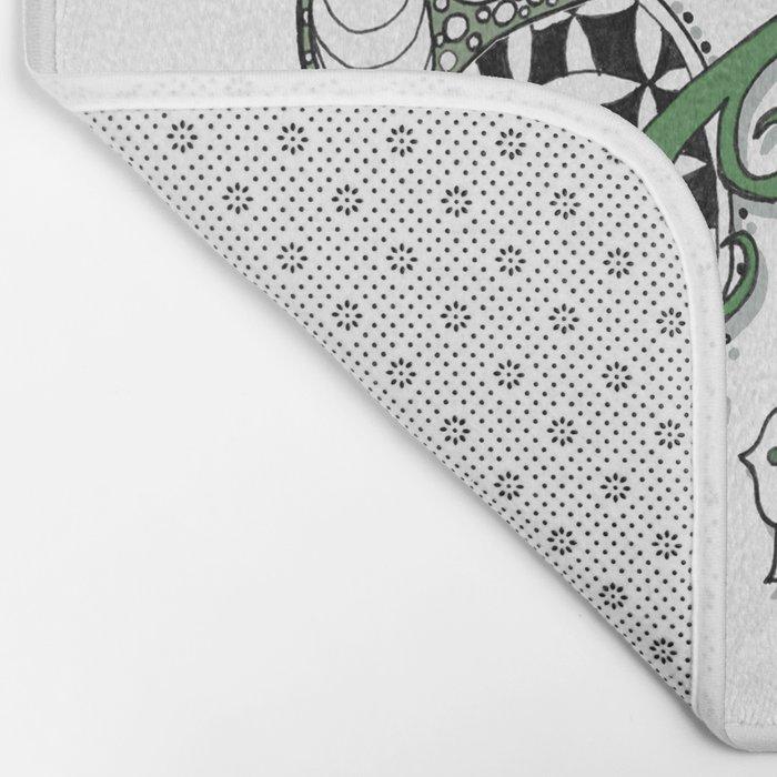 Zentangle Design - Black, White and Sage Illustration Bath Mat