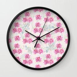 watercolor peonies Wall Clock
