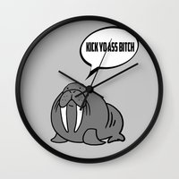 walrus Wall Clocks featuring Angry Walrus by Joe Hilditch