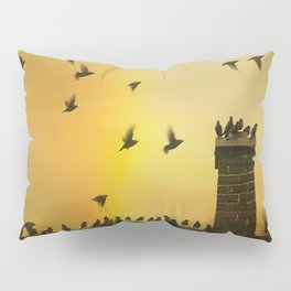 Rooftop Birds Pillow Sham