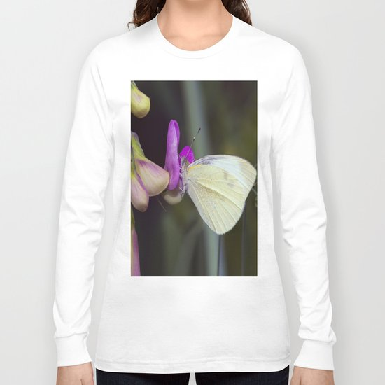 White Butterfly Long Sleeve T-shirt