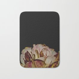 Bright Pink Tulip On Black Bath Mat
