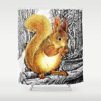 squirrel Shower Curtains featuring Squirrel by Natalie Berman