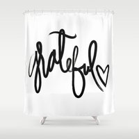 grateful dead Shower Curtains featuring GRATEFUL by I Love Decor
