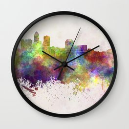Des Moines skyline in watercolor background Wall Clock