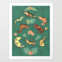Gecko family in green Art Print