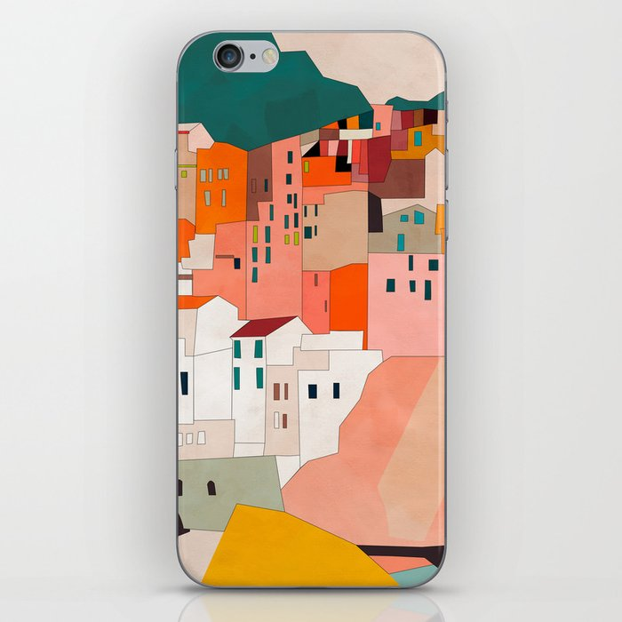 italy coast houses minimal abstract painting iPhone Skin