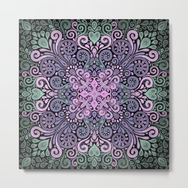 Watercolor Ornate Pattern in Purple, Pink and Green Metal Print