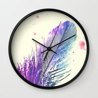 feather Wall Clocks featuring Feather  by Monika Strigel®