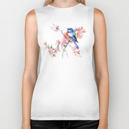 Bluebird and Cherry Blossom Biker Tank