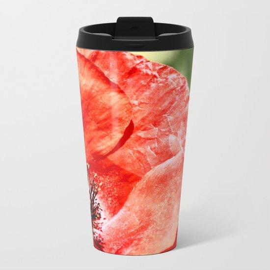 RED POPPY Metal Travel Mug
