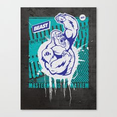 Mayhem Ape (Teal on Gun Metal) Canvas Print