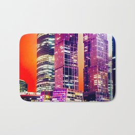 Red Night Architecture Abstract Bath Mat