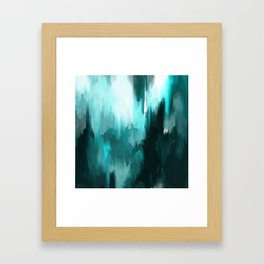 Ocean Water - an Aqua Blue Abstract painting with White Framed Art Print