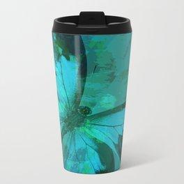 Butterfly Blue Metal Travel Mug