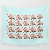pigs Wall Tapestries featuring Pigs by Dora Birgis