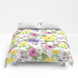 Spring Bouquet Watercolor Comforters