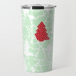 Elegant Green Christmas Trees Holiday Pattern Travel Mug