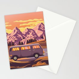 Cruising 101 - Bold and Colorful Traveling Van  Stationery Cards