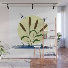 Cattails and Dragonflies Wall Mural