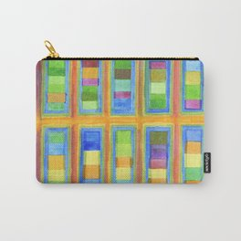 Striped Color Fields in Orange Grid Carry-All Pouch
