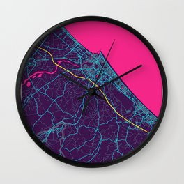 Rimini Neon City Map, Rimini Minimalist City Map Art Print Wall Clock