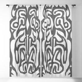 Tribal Tattoo Style Warlock Design - Black & White Sheer Curtain