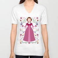 belle V-neck T-shirts featuring Belle by Carly Watts