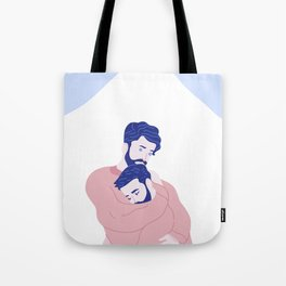 Two Men and a Mountain Tote Bag