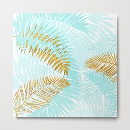 Aloha- Tropical Palm Leaves and Gold Metal Foil Leaf Garden Metal Print
