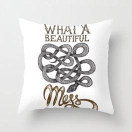 SNAKE - What a beautifull mess Throw Pillow