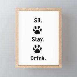 Cat Sit Stay Drink Framed Mini Art Print