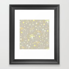 Yellow Floral Pattern Framed Art Print