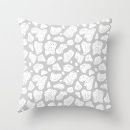Abstract Doodle Shapes - Gray and White  Throw Pillow