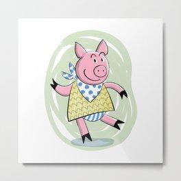 Dancing Piggy Metal Print