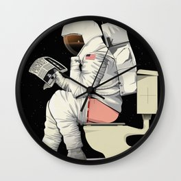 Spaceman On the Toilet Bathroom Restroom Apollo Wall Clock